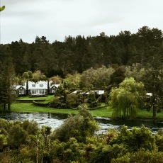 View of Huka Lodge from the other side of the river